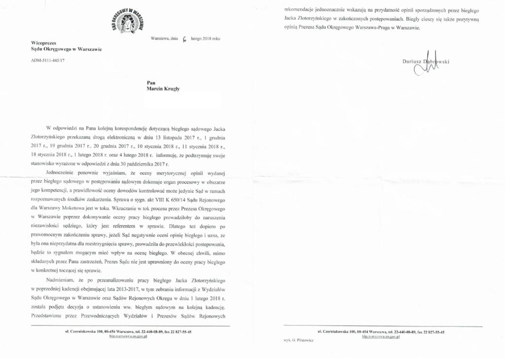 biegły Jacek Złotorzyński, wiceprezes Dariusz Dąbrowski, sędzia Monika Louklinska, sędzia Marta Bujko, prokurator Ewa Budny