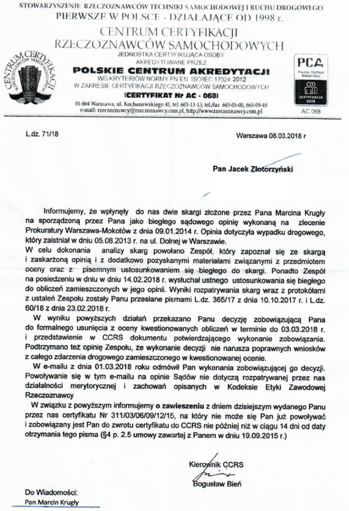 biegły Jacek Złotorzyński, Polskie Towarzystwo Kryminalistyczne